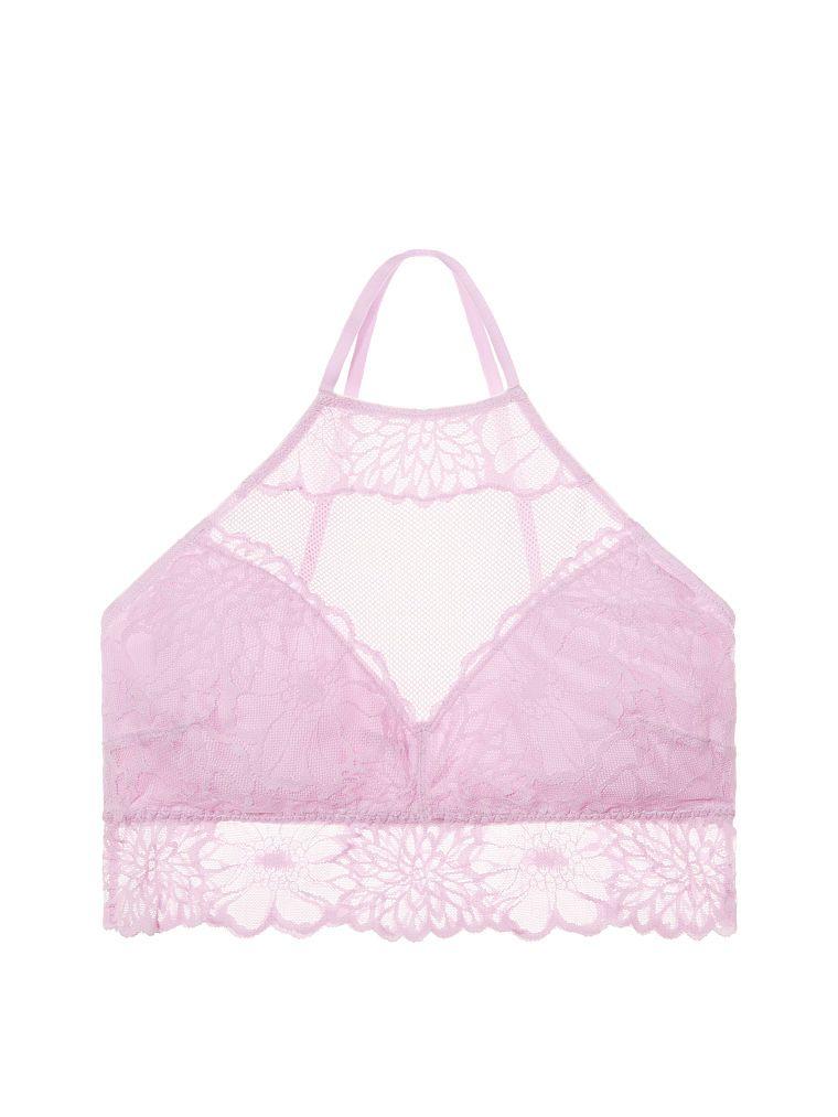 0013363184202 Floral Lace High-Neck Unlined Bralette - PINK - Victoria's Secret ...