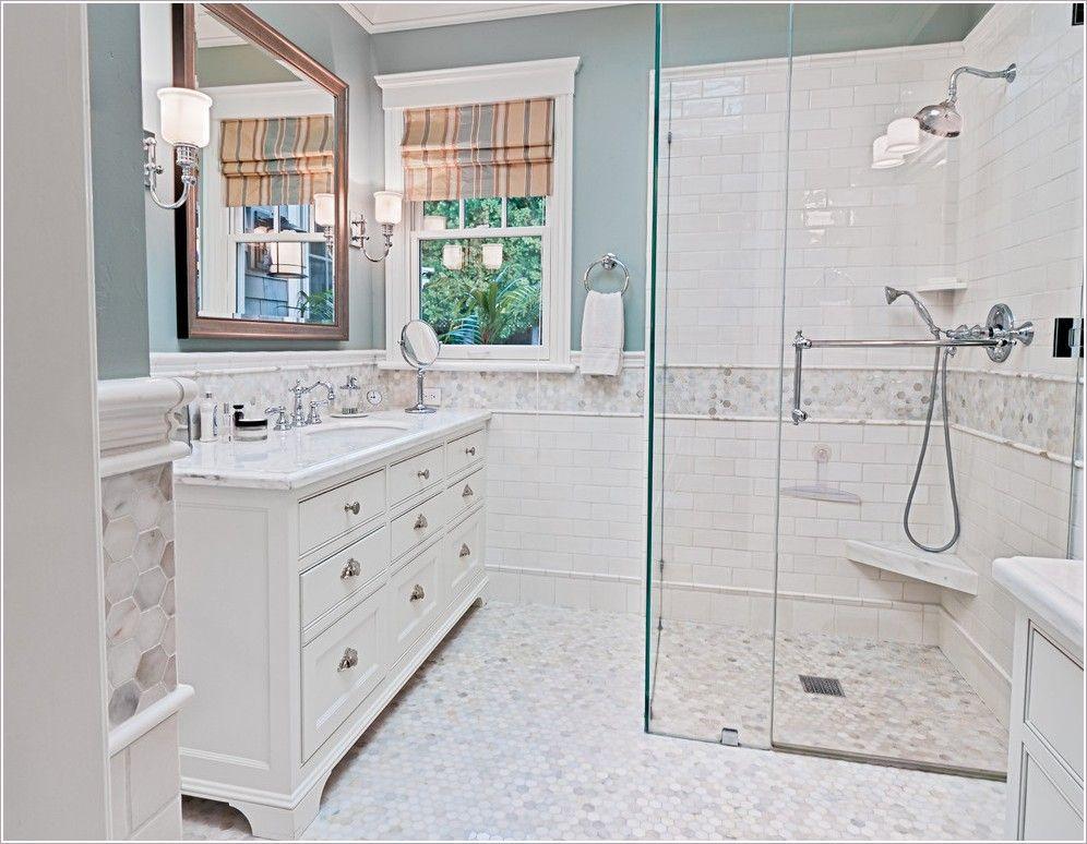 Penny Tile Bathroom Ideas Part - 34: White Subway Tile Bathroom Ideas | ... Shower Doors Painted Walls Penny  Tile Shower