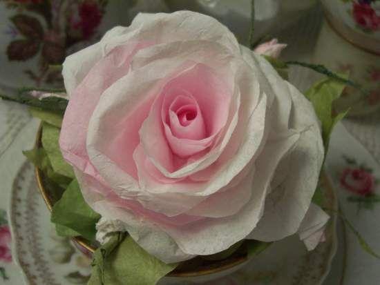 (Rhonda) Teacup insert Paper Rose Display Victorian decor