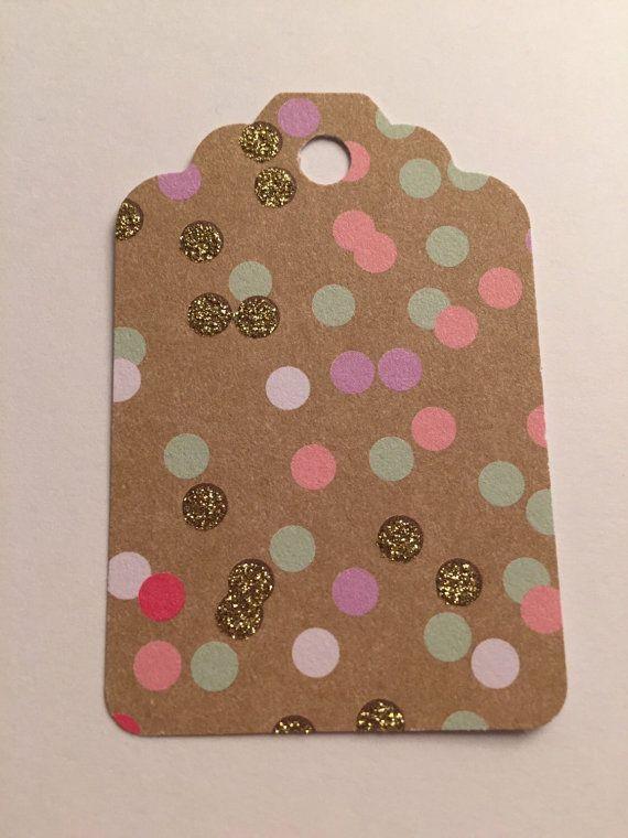 Set of 5 Kraft Pink Mint Gold Polka Dot Gift by SparkleandSparrow