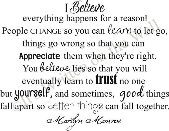 Marilyn Monroe Quote 15x19 I Believe Everything Happens For A Reason