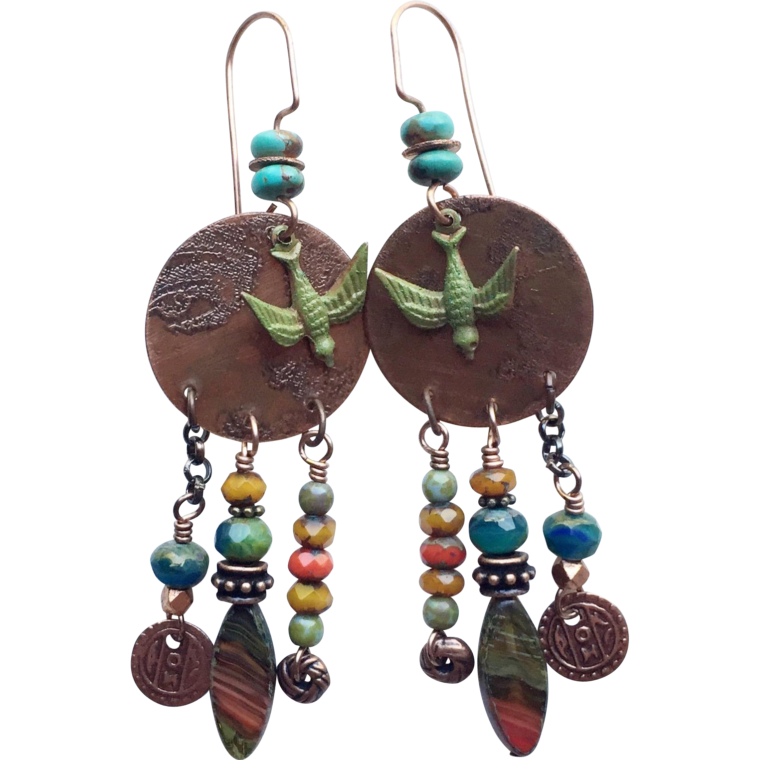 Bohemian Earrings Rustic Bohemian Gypsy assemblage earrings with ...