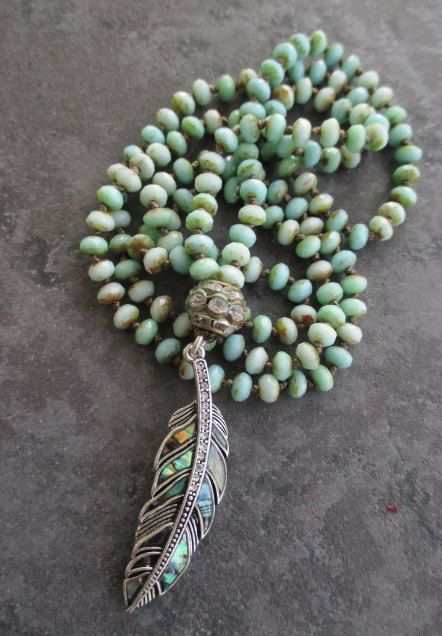 Knotted abalone feather necklace FeatherWeight by slashKnots