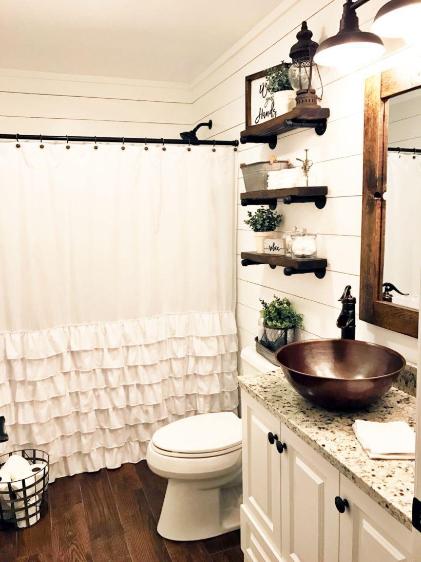 55 Farmhouse Bathroom Ideas For Small Space Roundecor Farmhouse Bathroom Decor Modern Farmhouse Bathroom Small Farmhouse Bathroom
