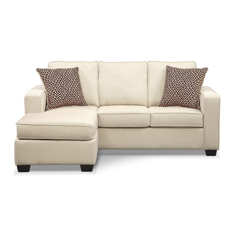 Sterling Beige Queen Memory Foam Sleeper Sofa W Chaise Value