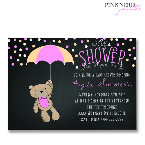 teddy bear holding umbrella, its a girl baby shower, baby shower