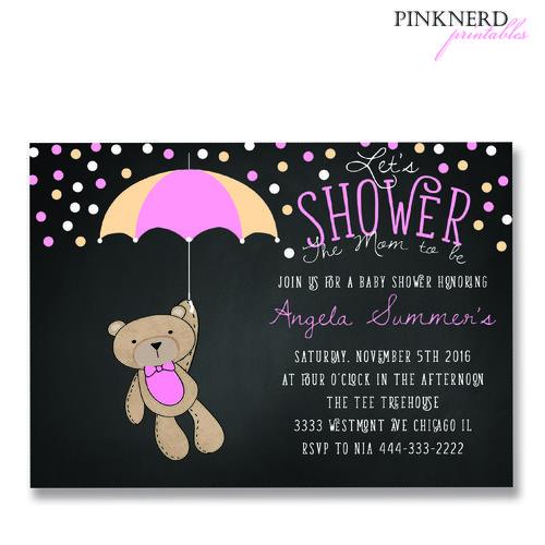 teddy bear holding umbrella, its a girl baby shower, baby shower - baby shower nia