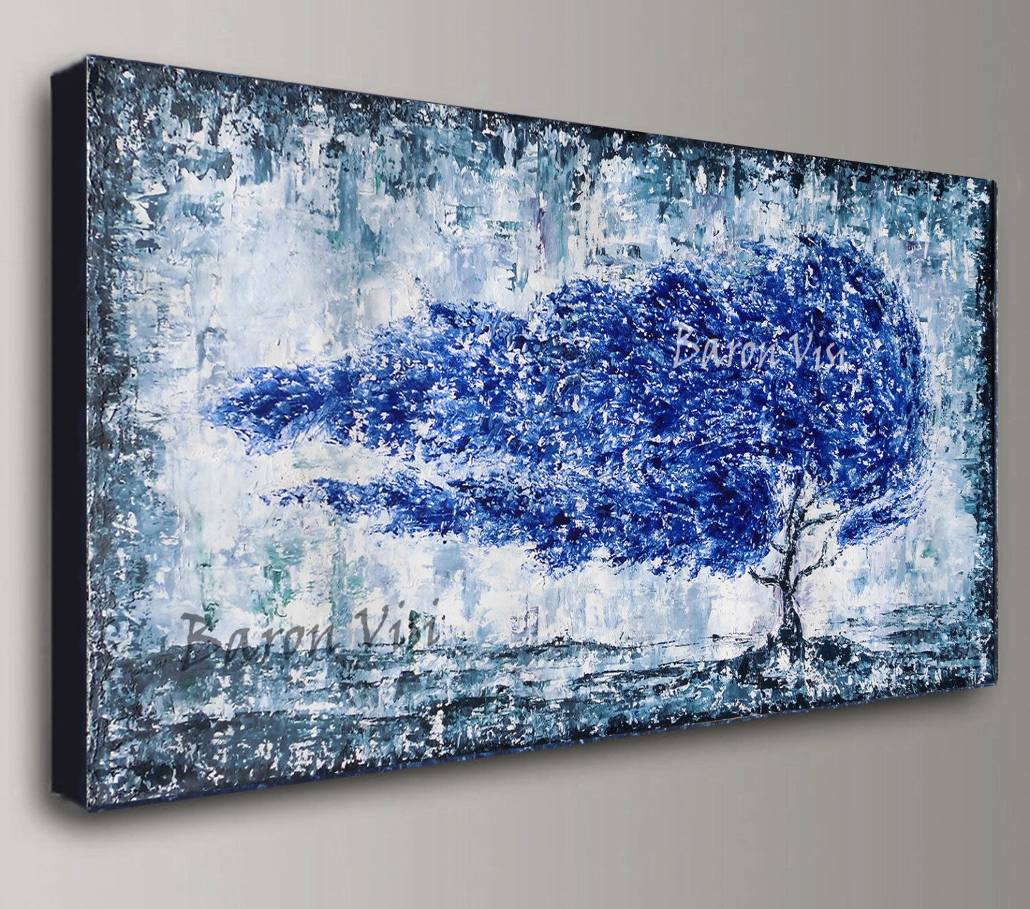 Blue Grey Abstract Painting Acrylic Painting Art Painting Blue Grey Home  Office Decor Wall Art Interior