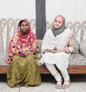Love the colors on the woman on the left, love the punjabi suit of the woman on the right.