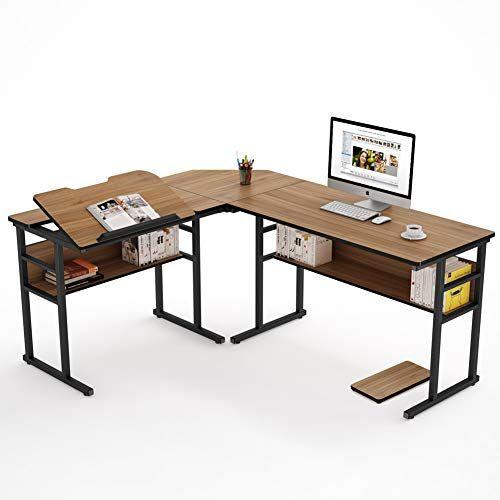 Tribesigns Modern L-Shaped Desk with Bookshelf, 67 inch ...