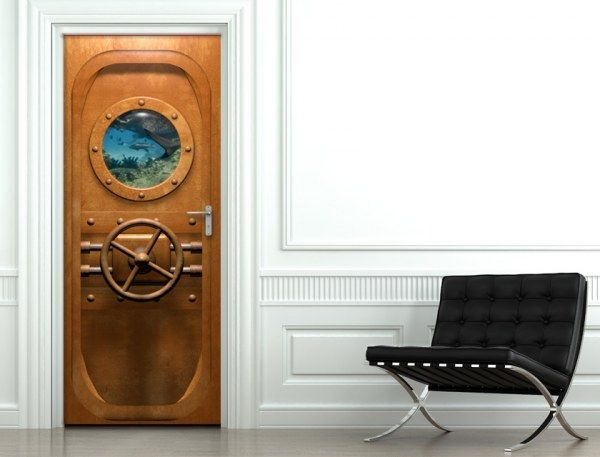 trompe l 39 oeil porte nautilus 20 000 lieux sous les mers. Black Bedroom Furniture Sets. Home Design Ideas