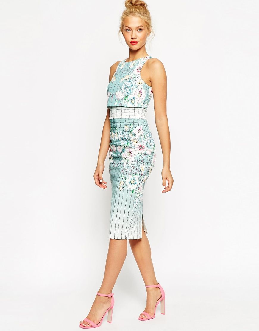 Asos wedding embellished floral drape back pencil midi dress - Asos Placed Floral Crop Top Pencil Dress