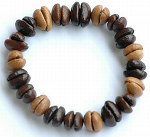 Coffee bean necklace. When you get bored with it you just drink it.