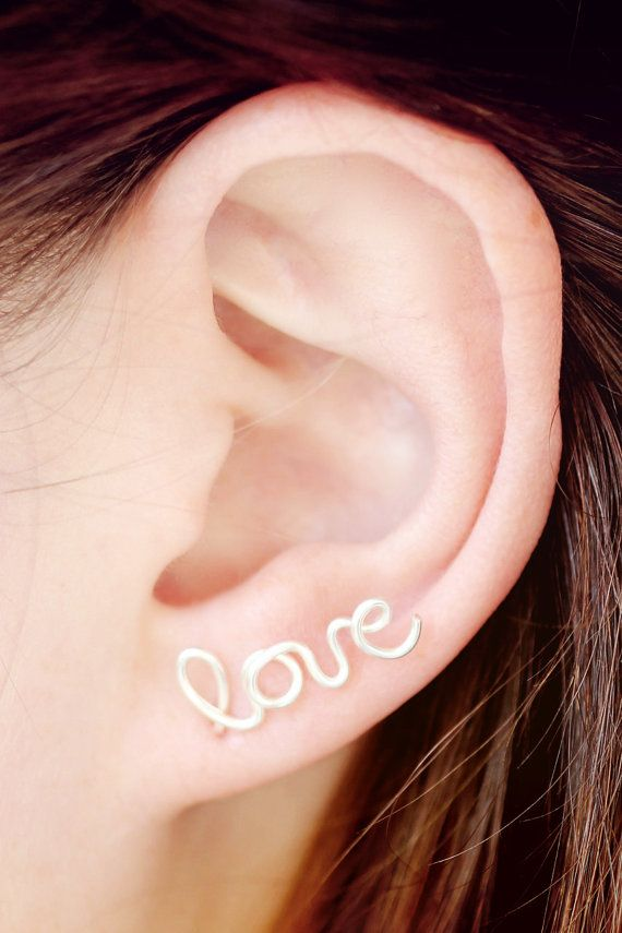 Love Earring Cuff Sterling Silver Plated Stud Cartilage Handwritten Cursive Affirmation Free Shipping Ear By Tre
