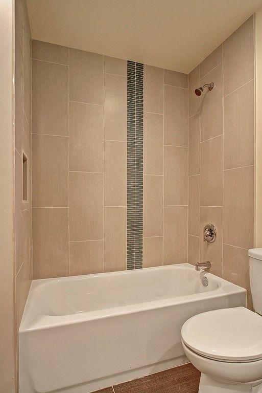Bathroom tile with decorative strip Home Design Pinterest