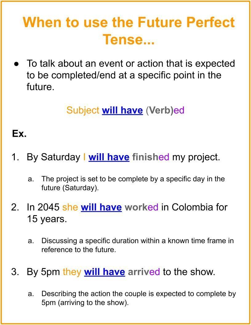 Future Perfect Verb Tense Chart Explanation In 2021 Language Worksheets Grammar Chart Future Perfect [ 1056 x 816 Pixel ]