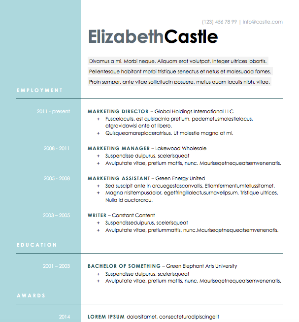 Free Resume Download Blue Side - Microsoft Word Format | resumes ...