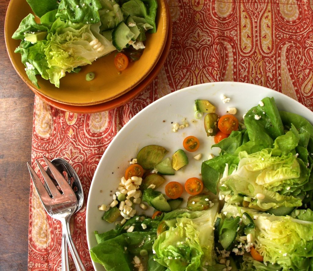 Gorgeous Salad with Butter Lettuce, Avocado, Corn, and Tomatoes