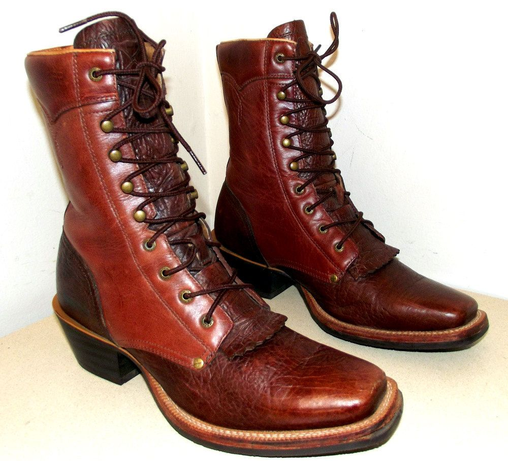 dc81a20d276 Vintage lace up cowboy boots with square toes