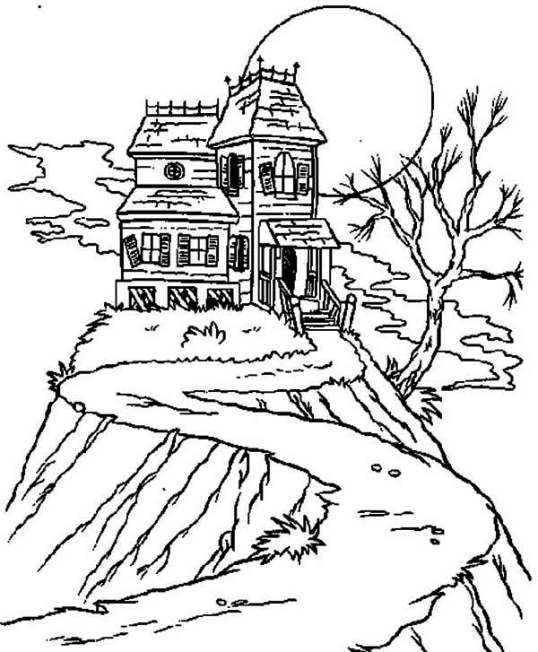 Isolated Haunted House Coloring Page Kids Play Color