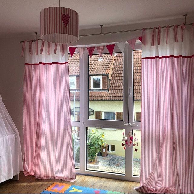 4 Hochbettvorhänge pink, rosa, weiß Rosa streifen