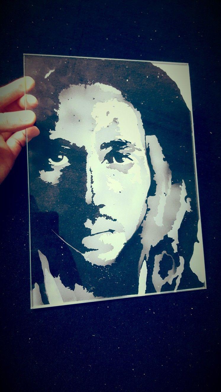 Bob Marley sandblasting art on glass Kristal Vitez art