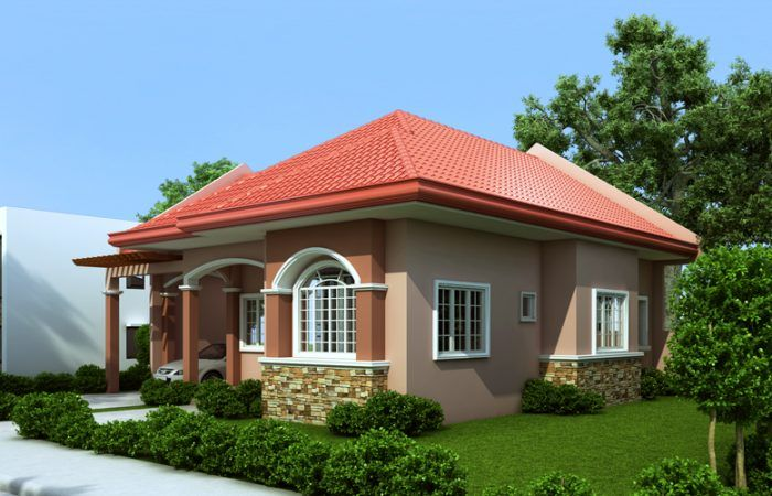Single Story House Plan With A Floor Area Of 70 Square Meters One Storey House Simple House Design Bungalow House Design