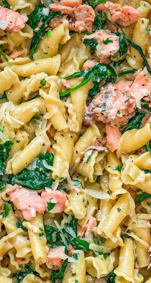 Photo of This Salmon Pasta with Spinach is a deliciously easy pasta recipe with chunks of…