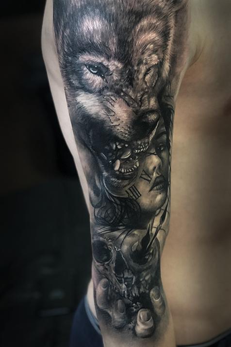 Pin By Hannah Krausz On Tattoo Ideas Wolf Tattoos Wolf Tattoo Design Cool Half Sleeve Tattoos