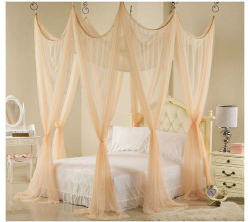 LUXURY-BED-CANOPY-MOSQUITO-NET-SET-PEACH