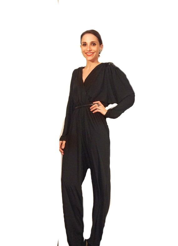 f3bea061ac89 Vintage 70s 80s Black Jumpsuit with Sequin Shoulders by Rimini for Saks  Fifth Avenue    Disco Glam