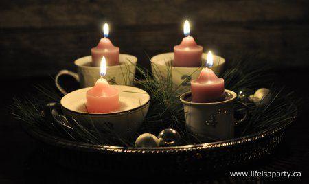 adventskranz aus teetassen machen christmas advent. Black Bedroom Furniture Sets. Home Design Ideas