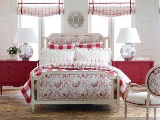 25 stilisierte Schlafzimmer mit roter Farbe Schöne