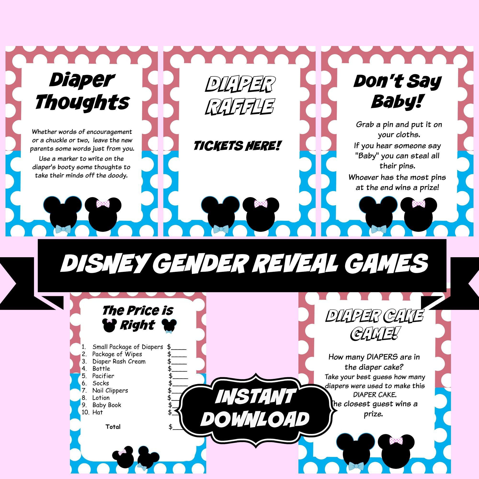 Gender Reveal Disney Baby shower Games for sale on Etsy to