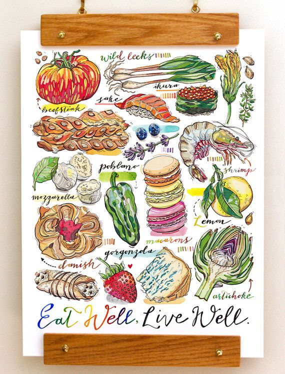 Eat Well food print. Kitchen decor. Foodie. by LouPaper on Etsy