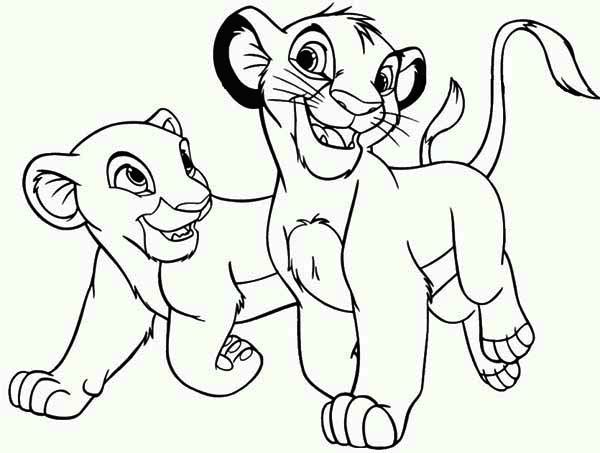 Simba Playing With His Friend The Lion King Coloring Page Lion King Drawings Lion King Art Lion Coloring Pages