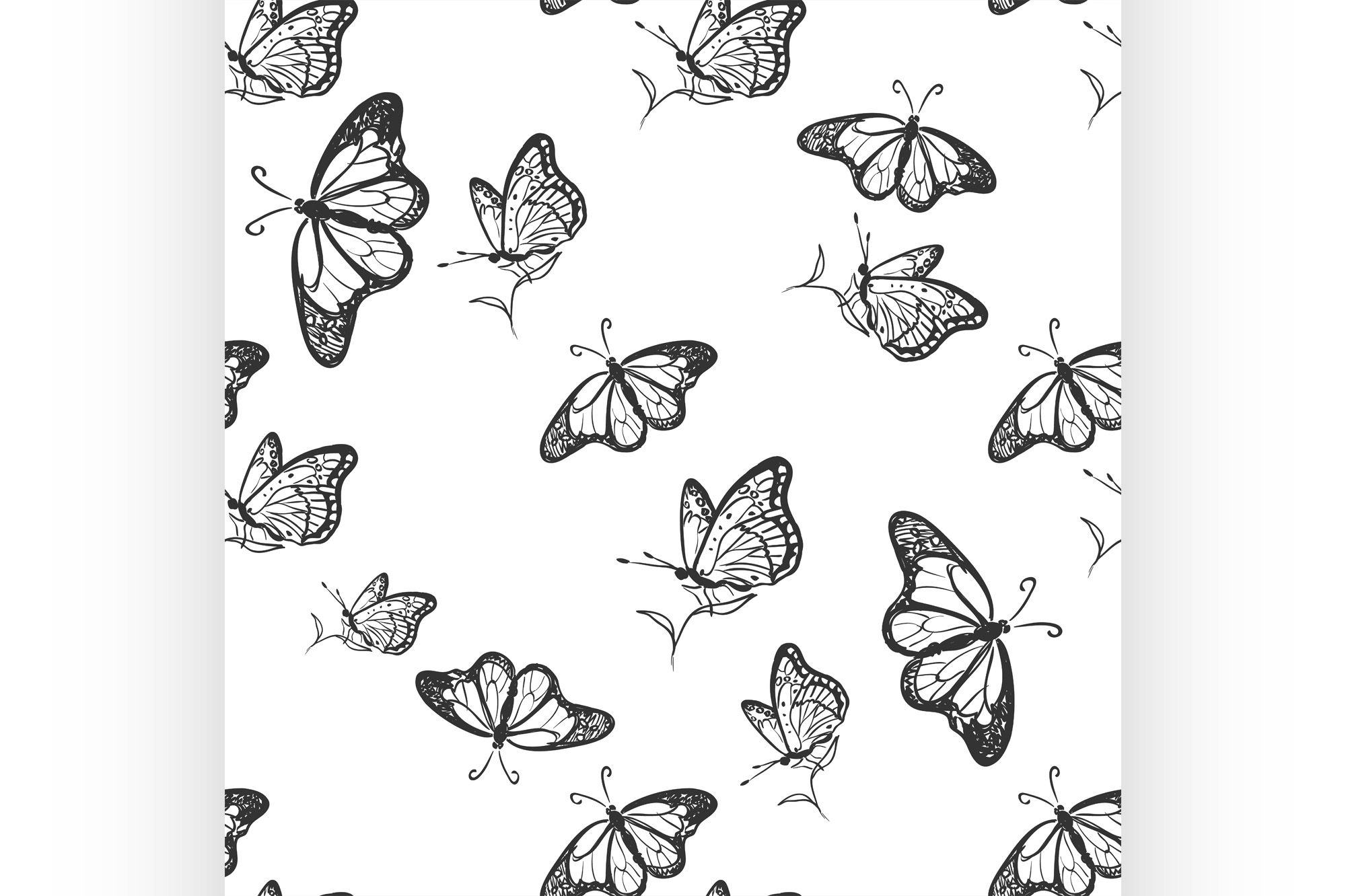 Doodle Butterfly Pattern (Graphic) by netkov1 · Creative