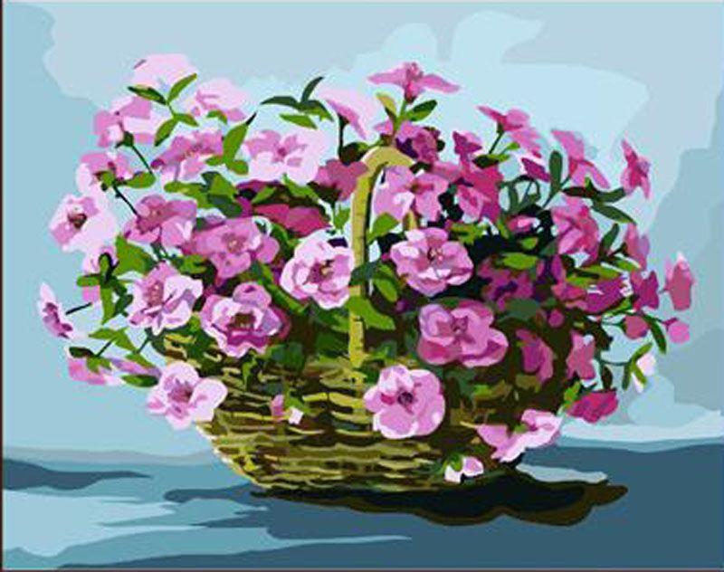 Картина по номерам «Корзина с цветами» | Цветы, Картины и ...