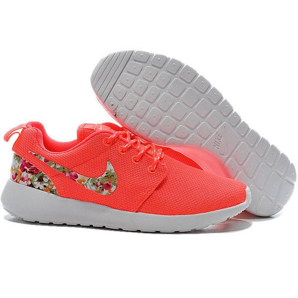 9cf9470b380 Custom Nike Roshe Run Sneakers Athletic Women Shoes Coral With Fabric...  ( 91) ❤ liked on Polyvore featuring shoes