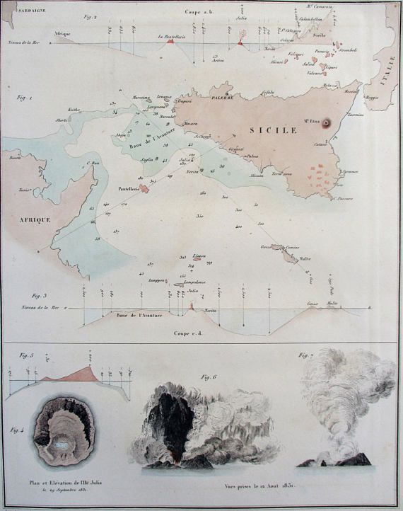 1835 Sicily Italy map with offshore soundings Lipari Islands Ille