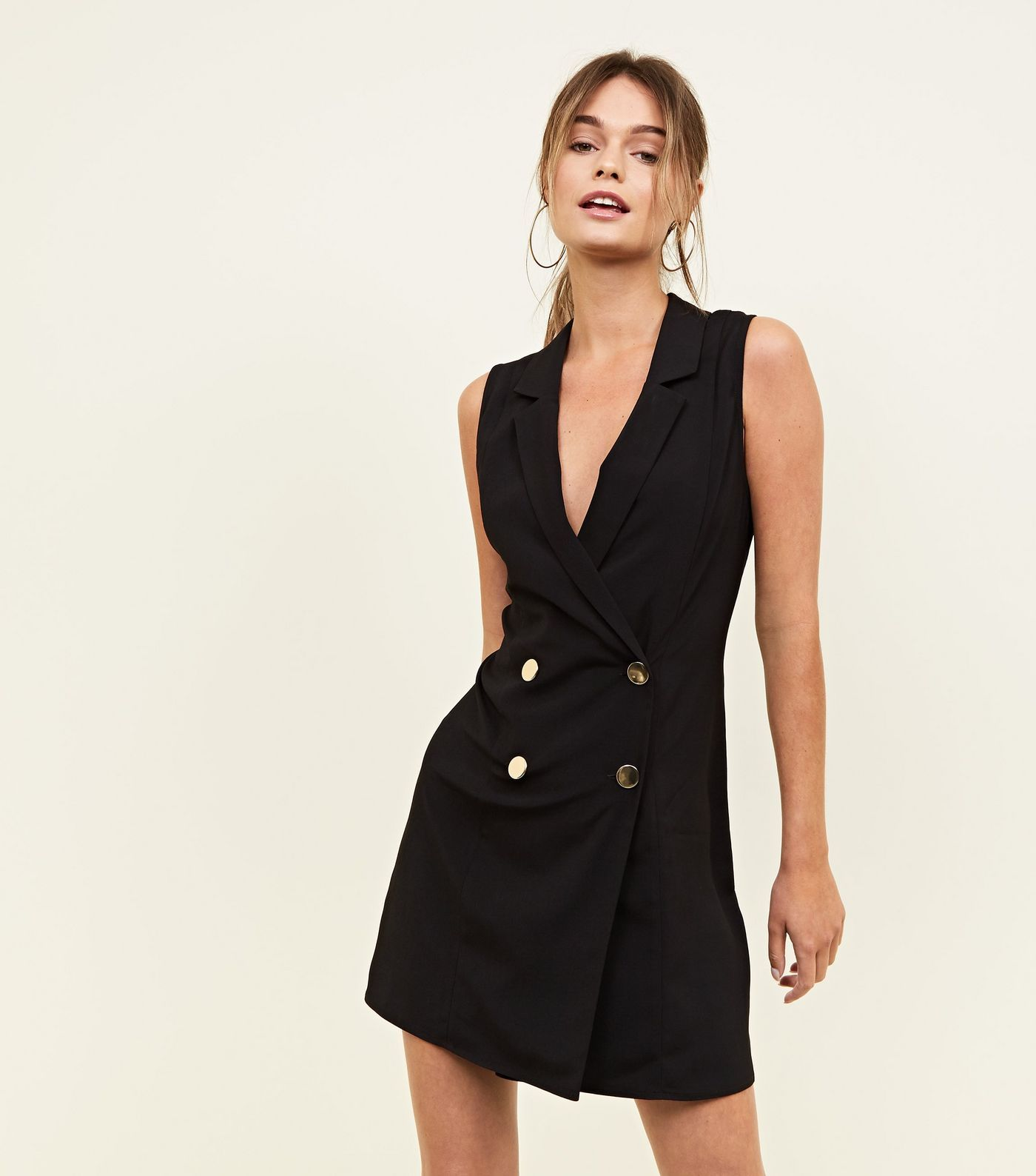 Black sleeveless tuxedo dress in clothes pinterest