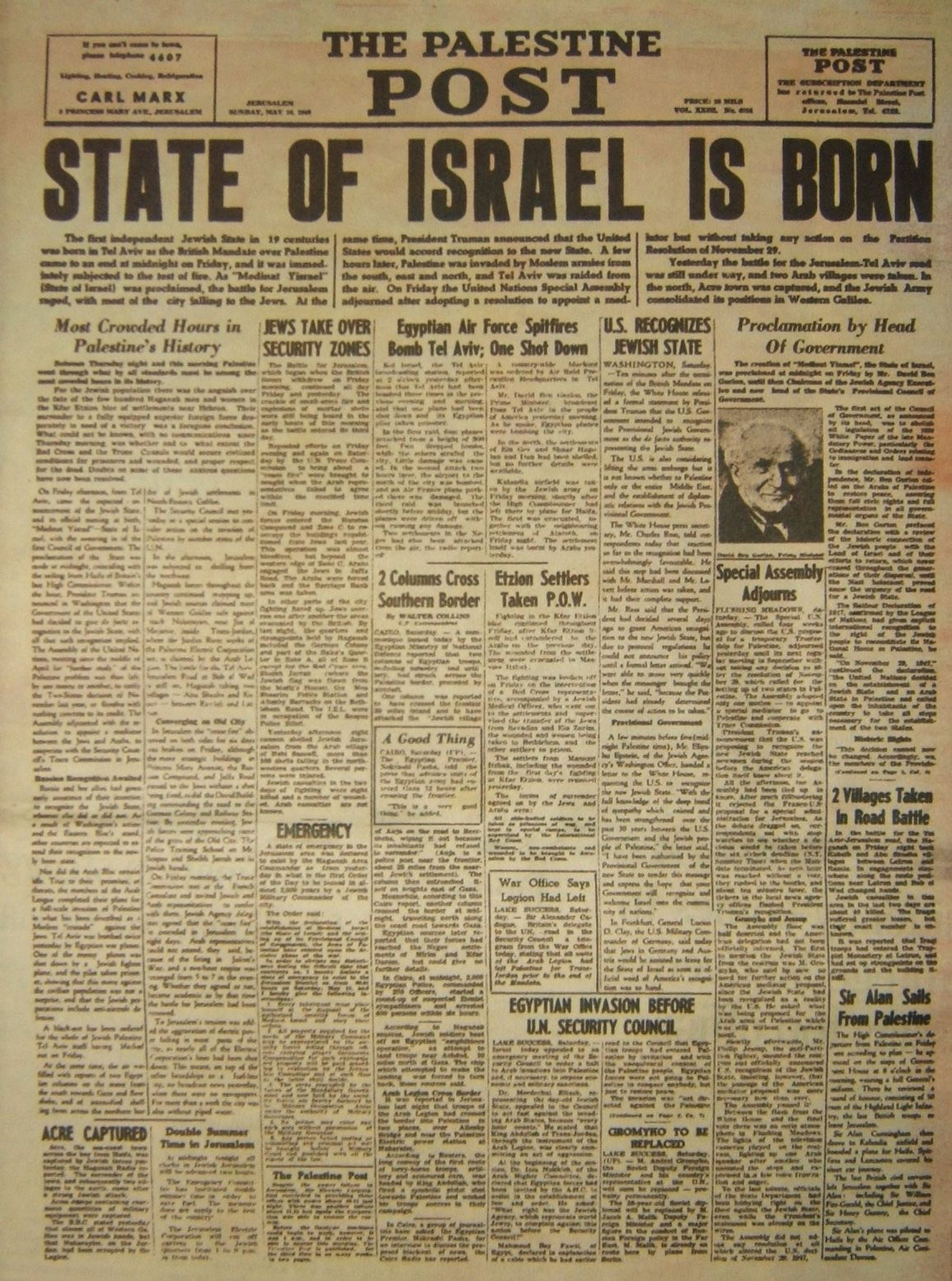 Israeli History Israel Declaration Independence With