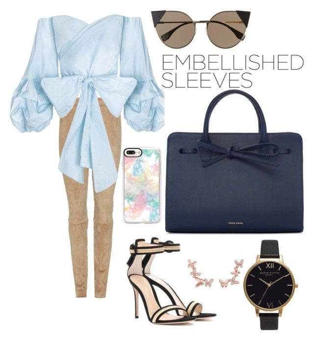 """""""Embellished sleeves"""" by dfayear on Polyvore featuring The Row, Gianvito Rossi, Fendi, Anyallerie, Mansur Gavriel, Casetify and Olivia Burton"""