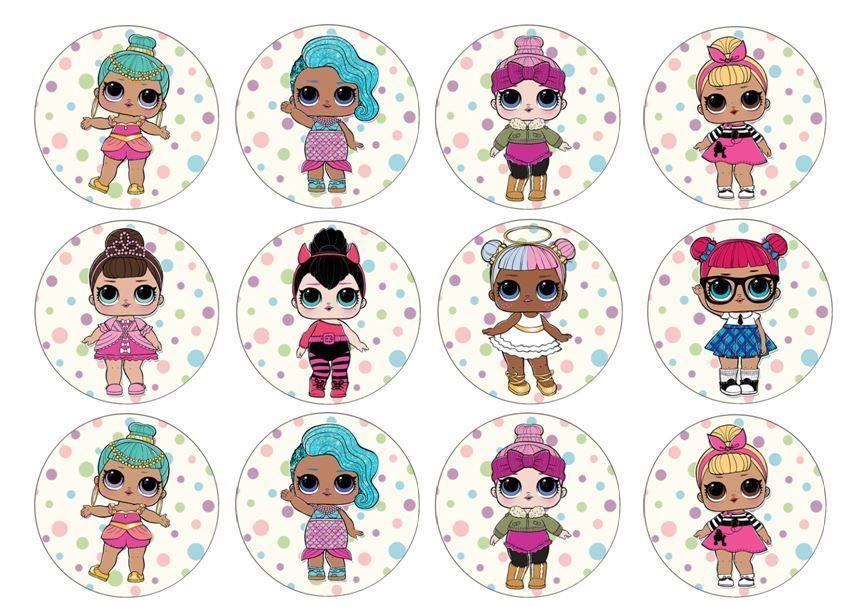 LOL Surprise Dolls Edible Wafer Cup Cake Toppers Standing