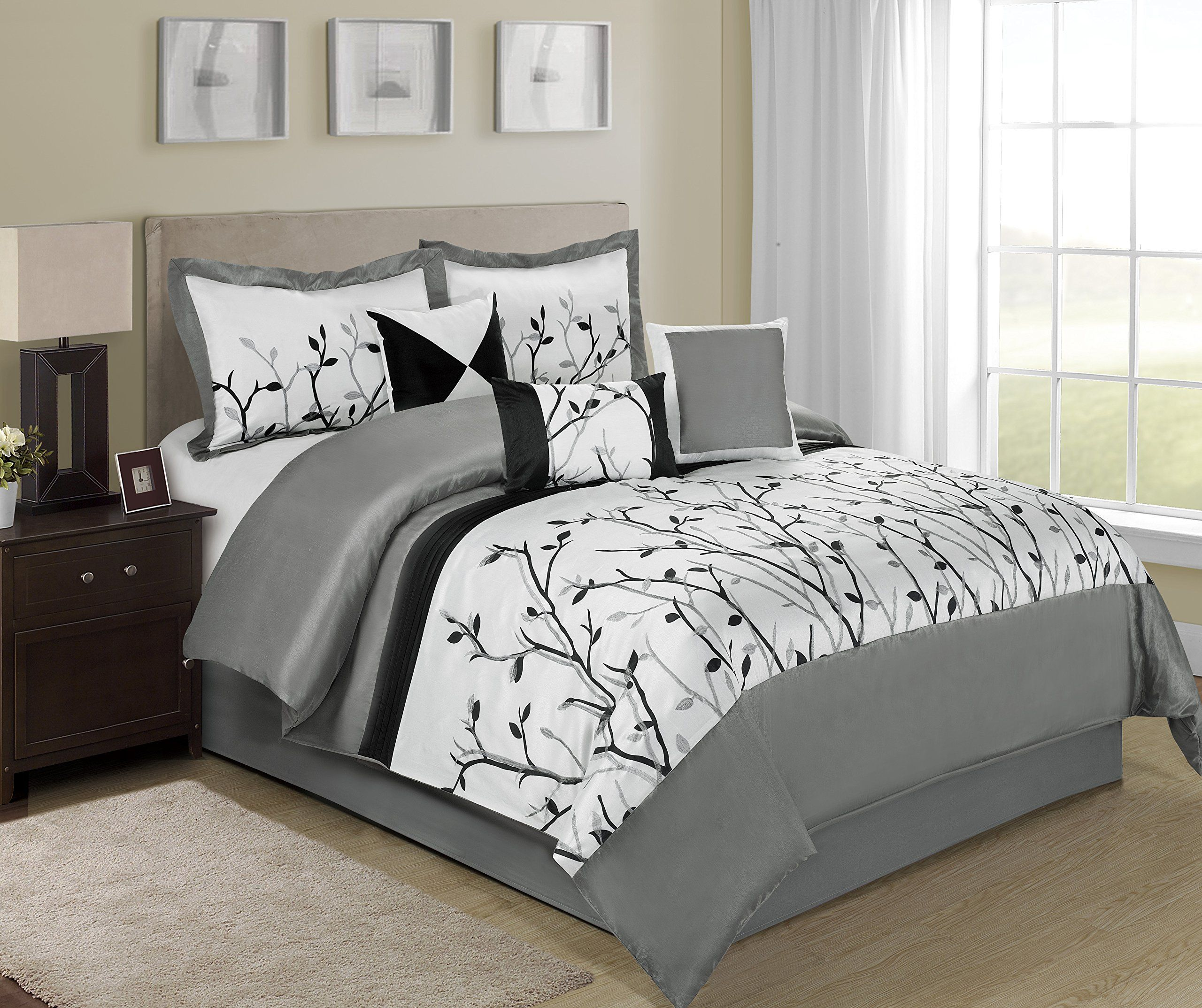 7 Piece Willow Tree Branches Black White Design Bed In A