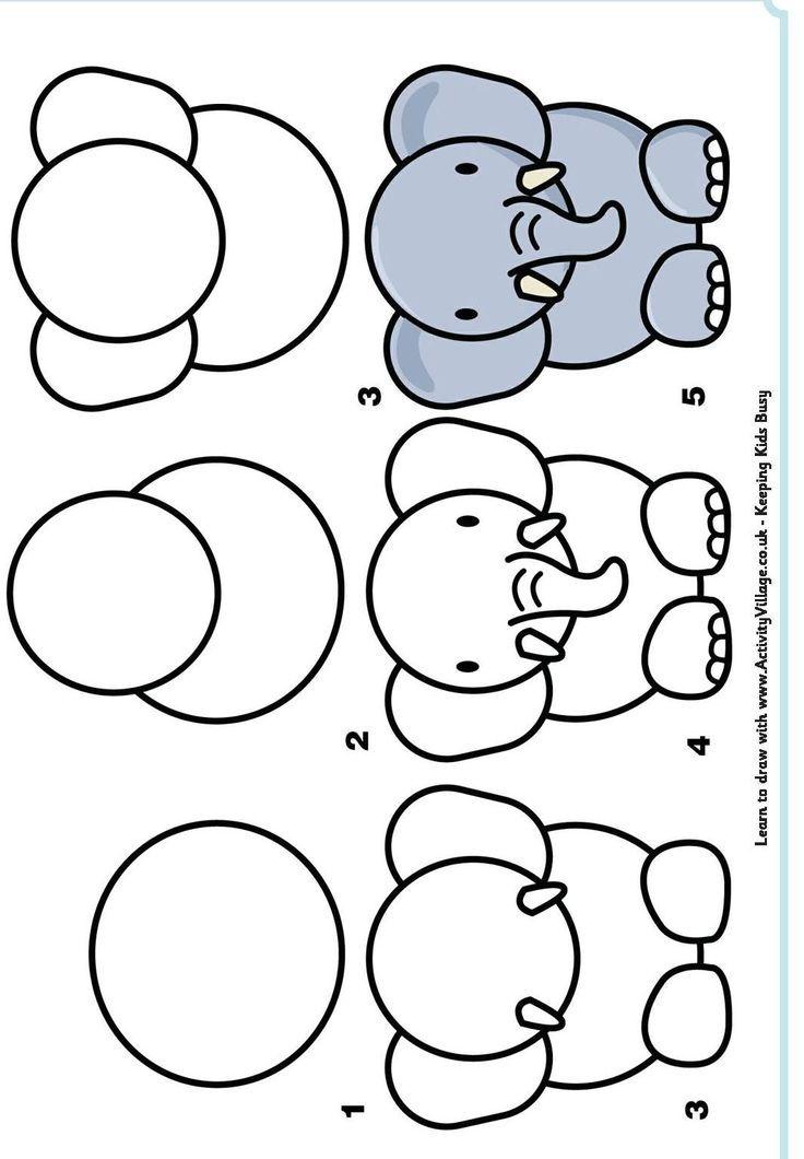 Apprendre A Dessiner Animaux Maternelle Dessin Elephant Dessin Facile Animaux Dessin