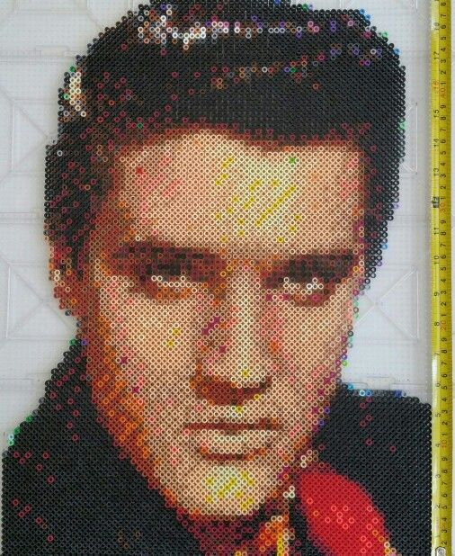 Elvis Presley made out of Perler beads
