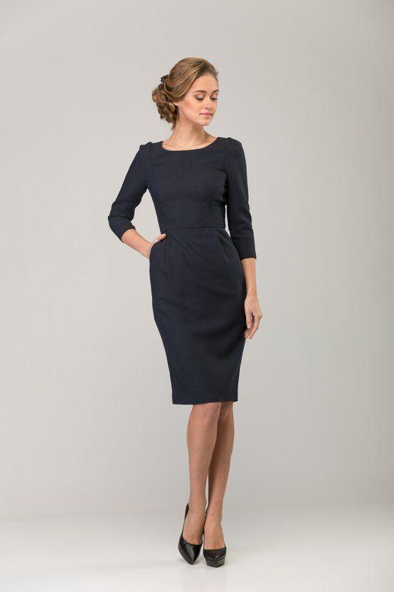 9780cd0cd4 SALE 30%! Dark blue office dress
