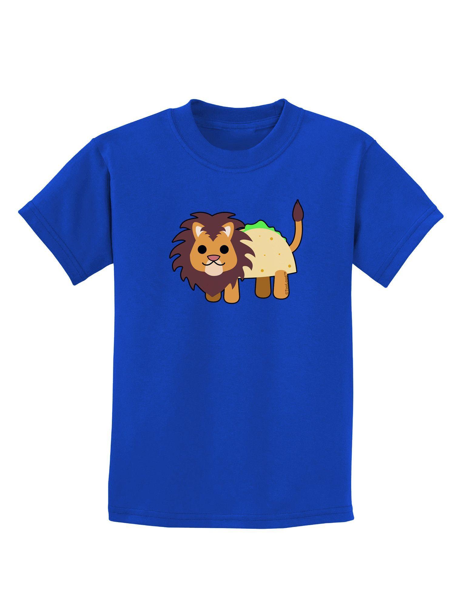 TooLoud Cute Taco Lion Childrens Dark T-Shirt