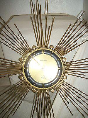 Vintage Forestville Starburst Sunburst Brass Wall Clock 8 Day Mechanical Wind Up Wanduhr Uhr